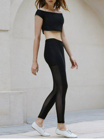 Fashion Active Slash Collar Short Sleeve Crop Top + Elastic Waist See-Through Spliced Leggings Women Twinset BLACK XL