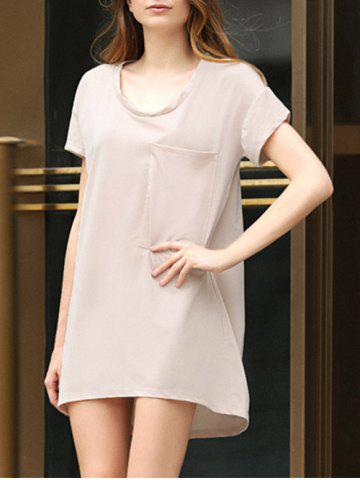 Store Casual Scoop Collar Short Sleeve Front Pocket Asymmetrical Solid Color Women T-Shirt Dress