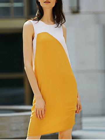 Store Casual Round Collar Sleeveless Color Block Straight Women Dress