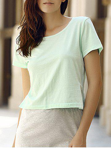 Outfits Simple Style Round Collar Short Sleeeve Cotton Blend Pure Color Women T-Shirt