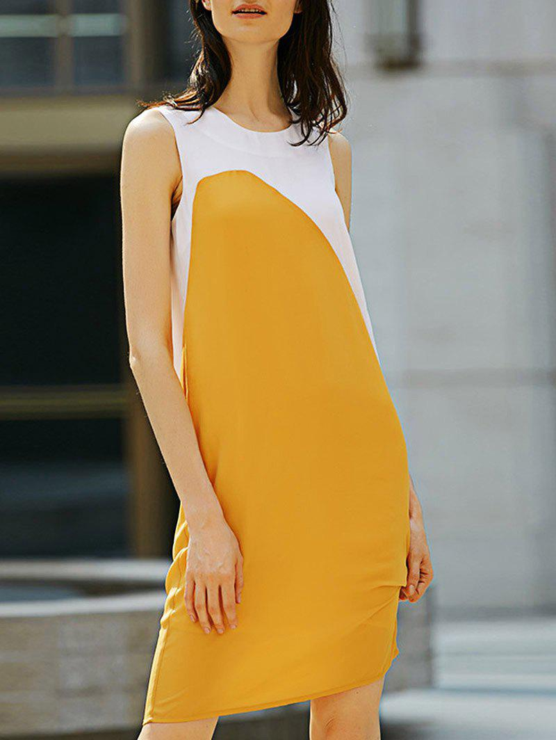 Shop Casual Round Collar Sleeveless Color Block Straight Women Dress