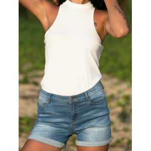 Street Style Low Waist Pure Color Denim Women Shorts -