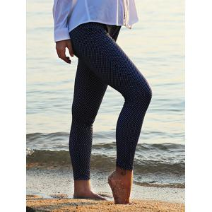 Stylish Elastic Waist Polka Dot Print Skinny Women Leggings - PURPLISHBLUE + WHITE L