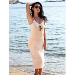 Brief Spaghetti Strap Pocket Pure Color Bodycon Women Split Dress -