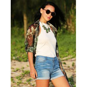 Simple Jewel Collar Pure Color Knitted Women Blouse -