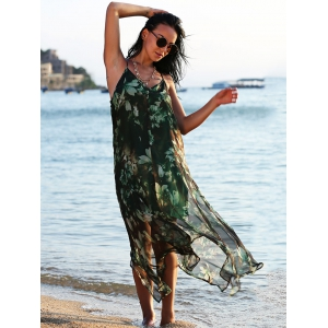 Chiffon Floral Bohemian Swing Slip Beach Dress - BLACK AND GREEN S