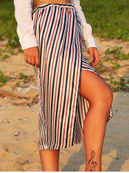 Elastic Waist Striped Midi Split Skirt - COLORMIX