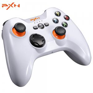 PXN - 9613 Wireless Bluetooth Game Controller Removable Handle Bracket Gamepad for PC / Tablet / Android Smartphone / TV Box - White - Size L