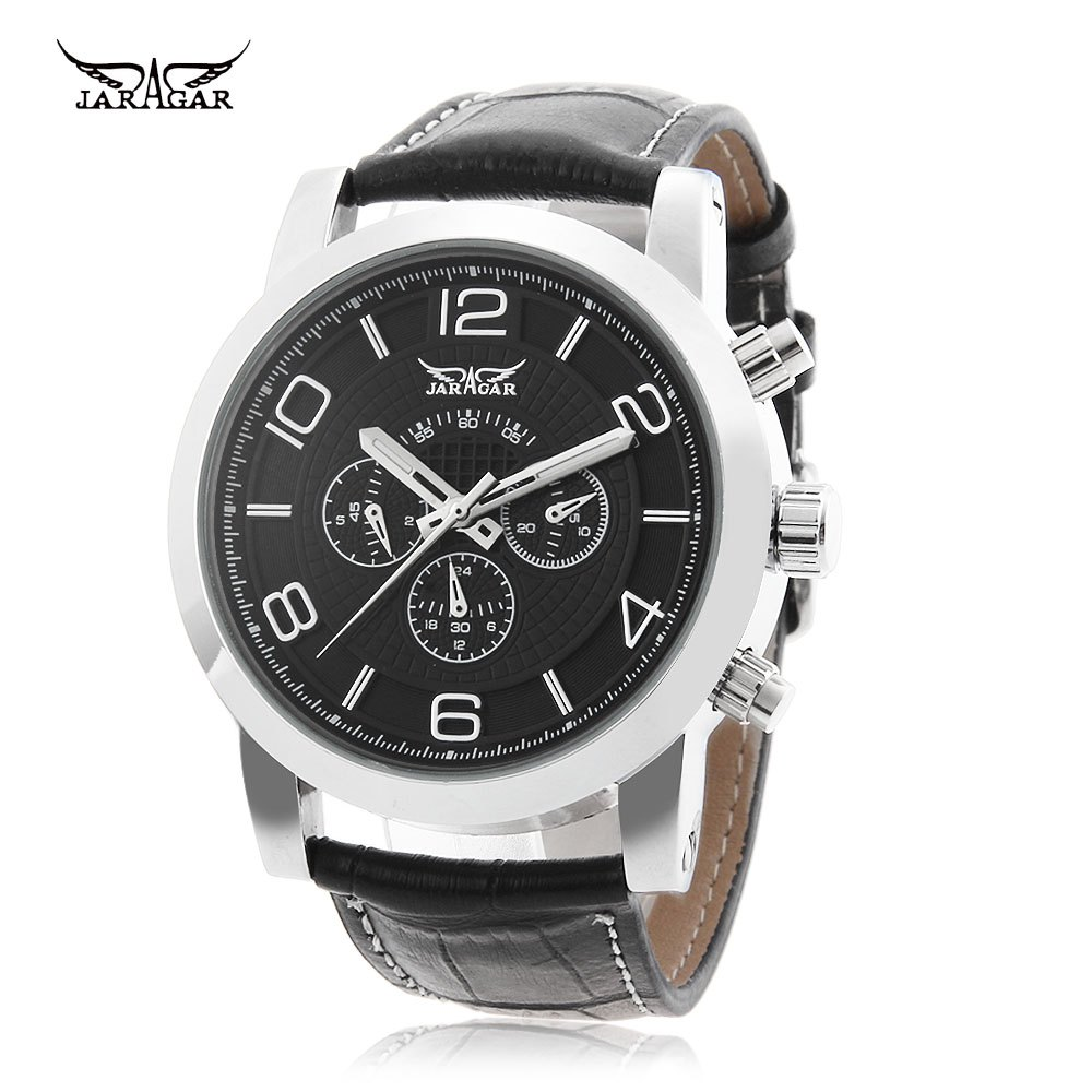 Discount JARAGAR F1205238 Male Automatic Mechanical Watch 24 Hours Display Genuine Leather Strap Wristwatch