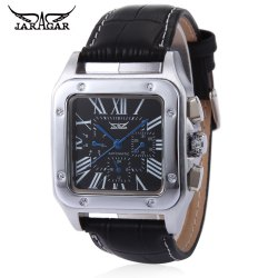 JARAGAR F120552 Men Auto Mechanical Watch Date Day Display Genuine Leather Strap Wristwatch -