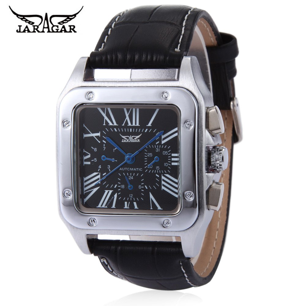 Sale JARAGAR F120552 Men Auto Mechanical Watch Date Day Display Genuine Leather Strap Wristwatch