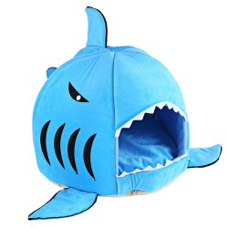 Lovely Soft Shark Mouth Shape Doghouse Pet Kennel with Cushion -