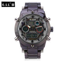 6.11 8148 Male Dual Movt Quartz Digital Watch Backlight Calendar Chronograph Alarm 3ATM Wristwatch -