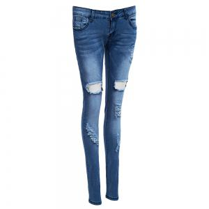 Holey Distressed Skinny Jeans - DENIM BLUE S