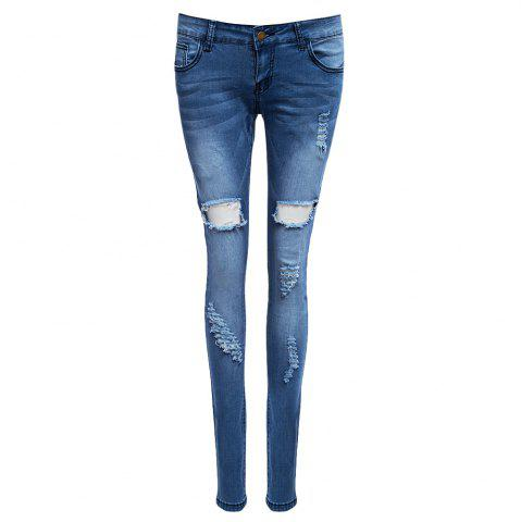 Affordable Holey Distressed Skinny Jeans DENIM BLUE S