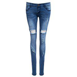 Trendy Mid Waist Skinny Women Destroyed Jeans