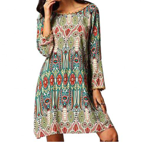 Fancy Ethnic Style African Tribal Print Tassel Dress