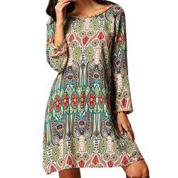 Ethnic Style African Tribal Print Tassel Dress - GREEN