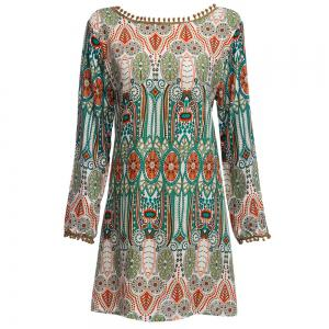 Ethnic Style African Tribal Print Tassel Dress -