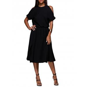 Cold Shoulder Midi Swing Evening Dress