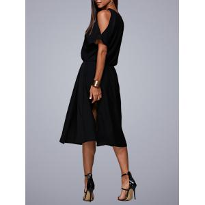 Cold Shoulder Midi Swing Evening Dress - BLACK M