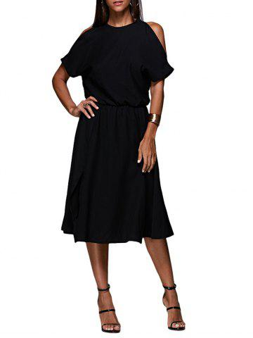 Best Cold Shoulder Midi Swing Evening Dress BLACK M