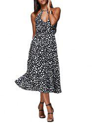 Sexy Keyhole Neck Sash Waist Allover Print Women Midi Dress