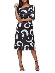 Trendy Round Collar Allover Print Backless Women Midi Dress -