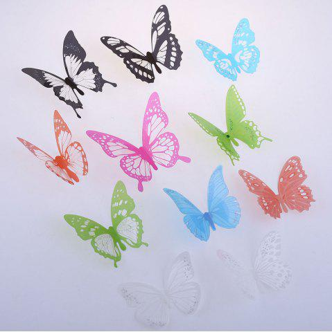 Fancy Colorful DIY 3D Butterfly Wall Sticker Mirror Art Decal PVC Paper for Home Showcase - 12Pcs