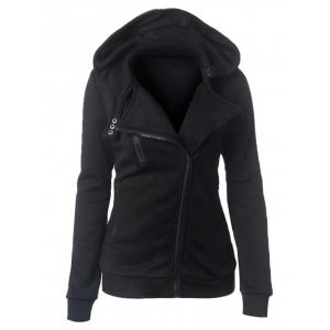 Casual Turn-down Collar Zipper Button Design Women Hoodie - Black - M