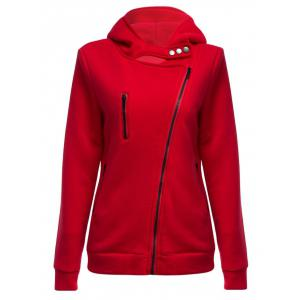 Casual Turn-down Collar Zipper Button Design Women Hoodie - Red - S