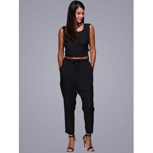 Tie Side Crop Top and Jogger Pants - BLACK M