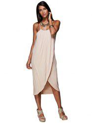 Spaghetti Strap Draped Summer Slip Dress - SOIL