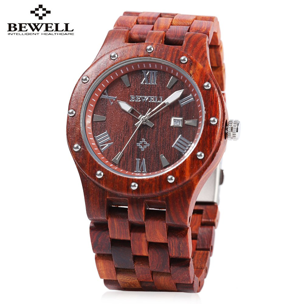 Affordable Bewell ZS - W109A Men Quartz Watch Round Dial Wooden Band Analog Wristwatch