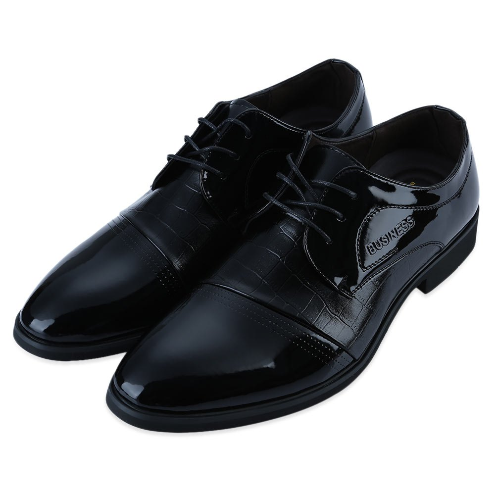 Forme Alligator Pattern Pointed Toe Lace Up Business Chaussures en cuir verni pour hommes