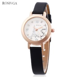 Rosivga 261 Women Quartz Watch Tower Pattern Dial Slender Leather Strap Wristwatch -