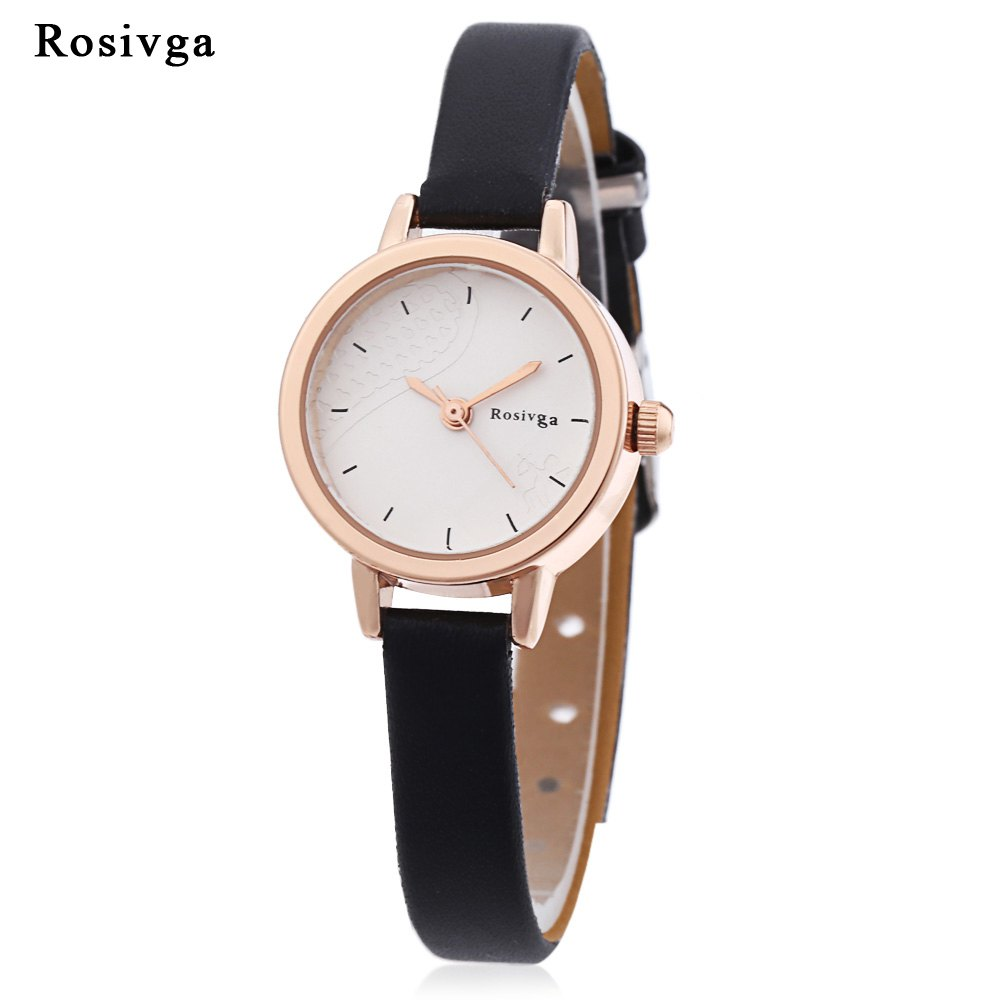Fashion Rosivga 260 - 1 Women Quartz Watch Cupid Pattern Dial Slender Leather Strap Wristwatch