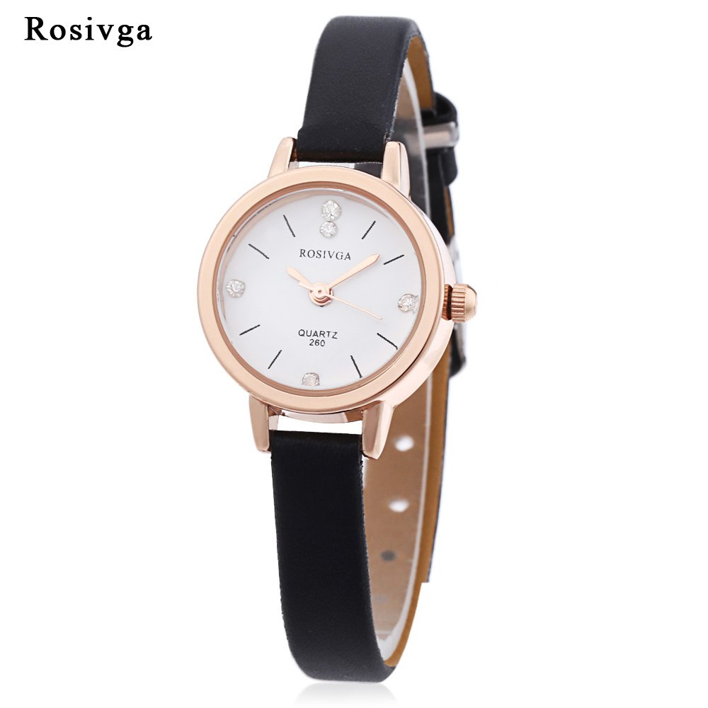 Online Rosivga 260 Women Quartz Watch Artificial Diamond Dial Slender Leather Strap Wristwatch