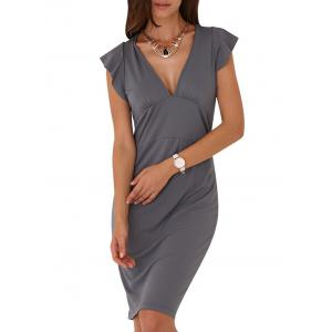 Sexy V-Neck Cap Sleeve Sash Waist Pure Color Women Dress