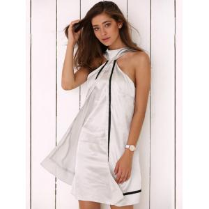 Halter Faux Two Piece Satin Mini Dress -