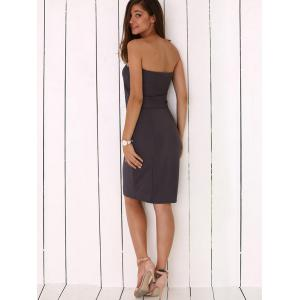 Strapless Pure Color Bodycon Dress - SMOKY GRAY M