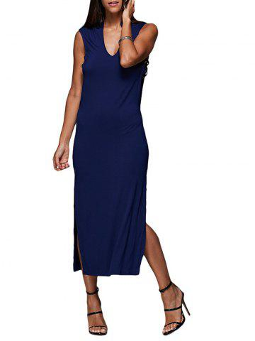 Fashion Sexy V-Neck Hollow Out Solid Color Women Midi Split Dress