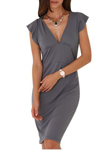 Outfit Sexy V-Neck Cap Sleeve Sash Waist Pure Color Women Dress DEEP GRAY M