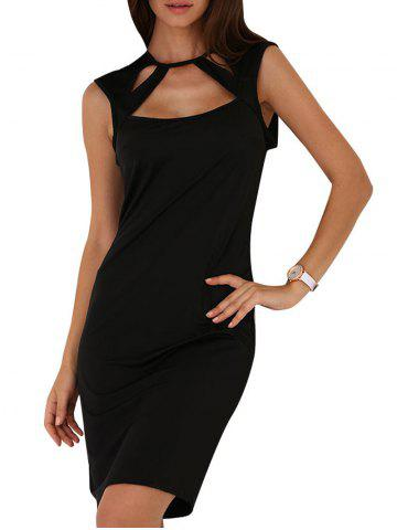 Hot Round Collar Cut Out Bodycon Dress
