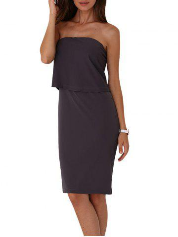 Cheap Strapless Pure Color Bodycon Dress