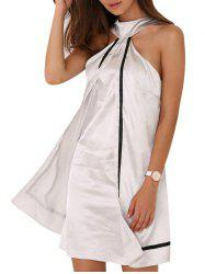 Halter Faux Two Piece Satin Mini Dress - LIGHT GRAY