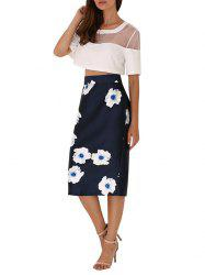 High Waist Floral Back Slit Bodycon Skirt - BLACK