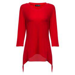 Simple Style V-Neck Solid Color Asymmetrical Women T-Shirt -