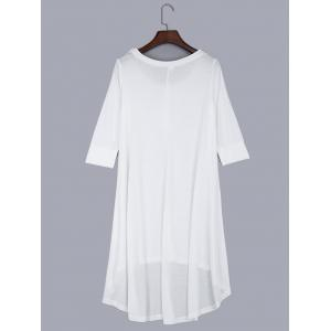 Round Collar Front Single-breasted Irregular Dress - WHITE S