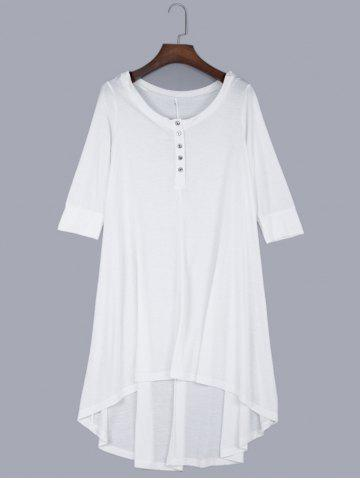 Latest Round Collar Front Single-breasted Irregular Dress WHITE S